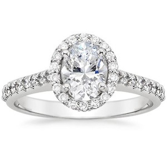 Custom Oval Cut Halo Engagement Ring