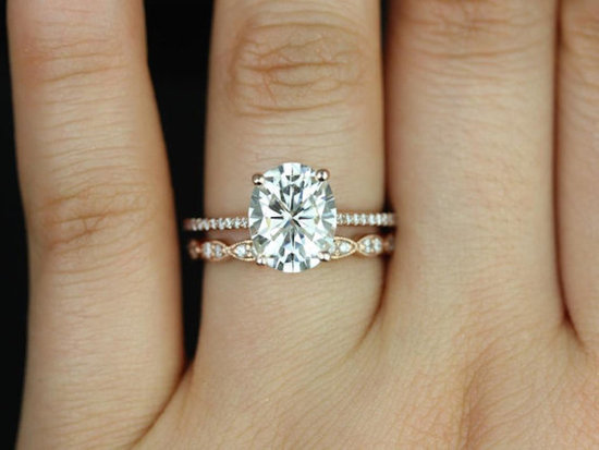 Rose Gold Oval Engagement Ring Set