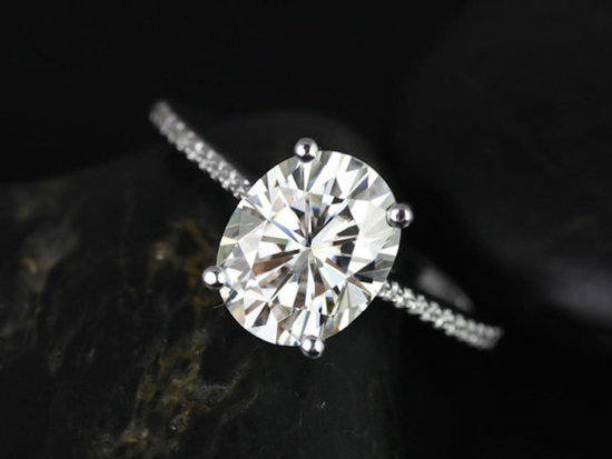 White Gold Oval Shaped Solitaire Engagement Ring