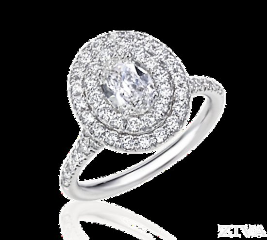 Double Halo Oval Shaped Diamond Ring
