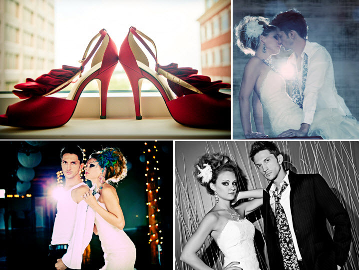 Edgy-bride-groom-photo-shoot-red-peep-toe-bridal-heels-ruffle-detail-peacock-feather-in-hair.full