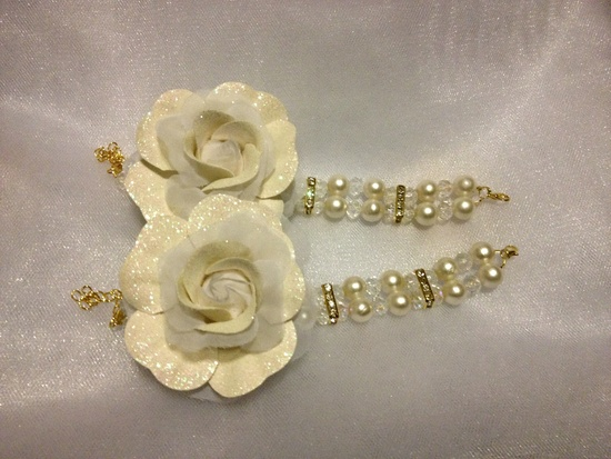 Crystal & Pearl Wrist Corsages