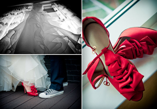 Hot Red Peep Toe Bridal Heels With Ruffle Details White Wedding Dress Photographed From Beneath Converse For