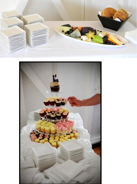 The delicious cheese platter and cupcakes made perfect appetizers and dessert.