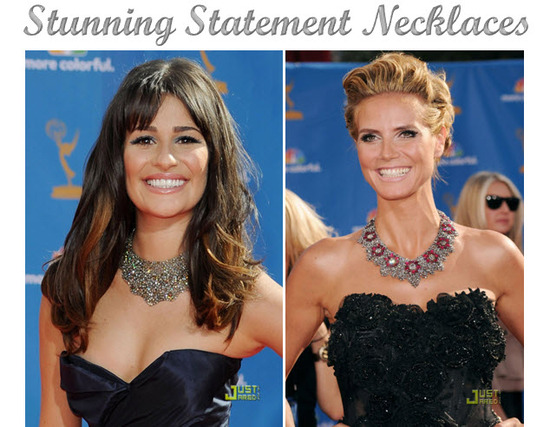 Lea Michele and Heidi Klum donned stunning statement necklaces down 2010 Emmy Awards red carpet
