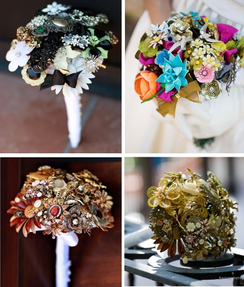 Gorgeous, one-of-a-kind brooch bouquets for your eco-chic wedding