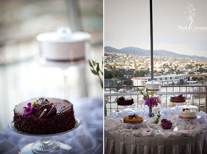 California-wedding-venue-overlooks-hollywood-hills-simple-chocolate-wedding-cake-dessert-table.full