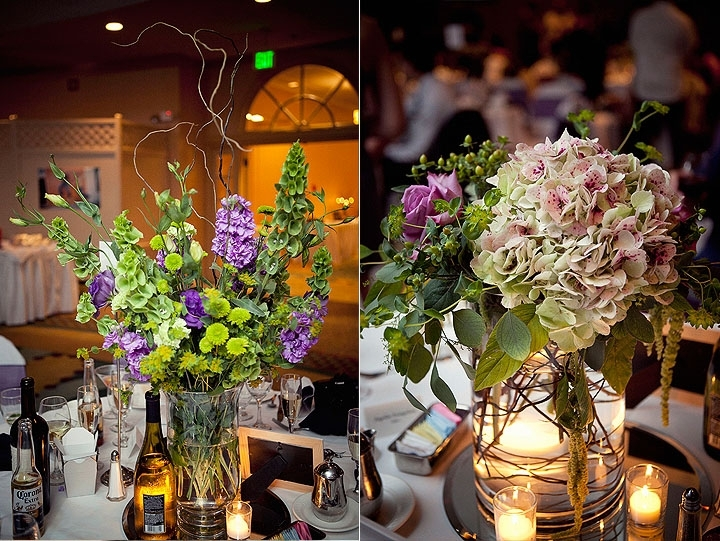 Romantic-wedding-reception-decor-wedding-flowers-table-centerpieces-whimsical-branches-purple-green-light-pink-fresh-flowers.full