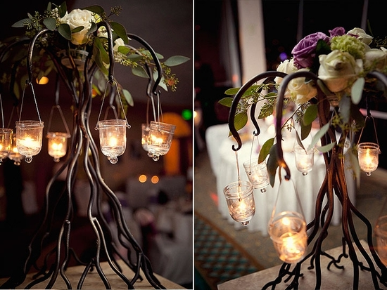 Romantic wedding reception decor- ivory and lilac roses with hanging tea lights