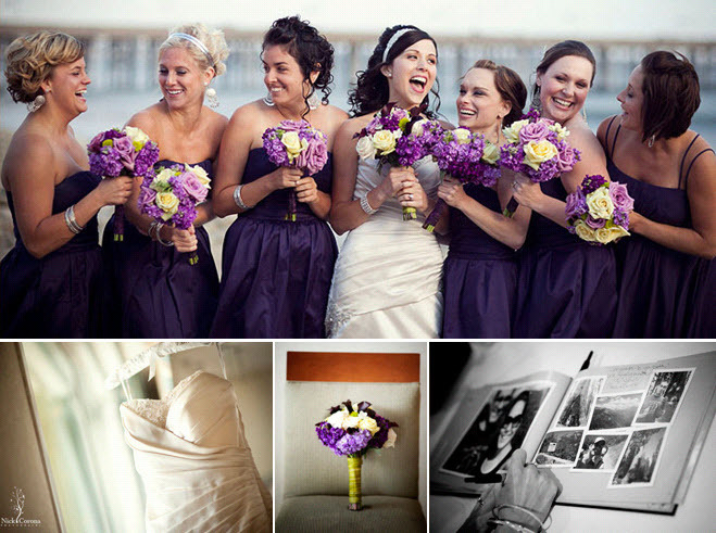 Bridesmaids in plum strapless dresses pose with bride for Purple and ivory wedding dress