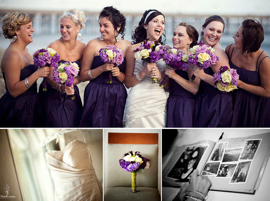 Bridesmaids, in plum strapless dresses, pose with bride, clutch purple, ivory, green floral bouquets