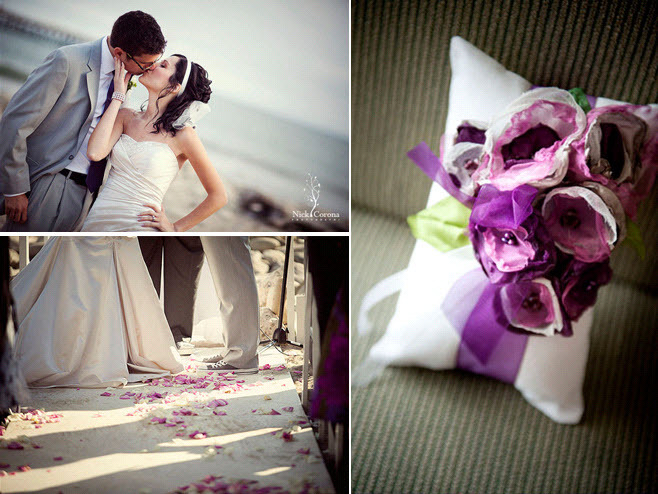 Purple-lilac-green-ivory-wedding-color-palette-handmade-ring-bearer-pillow-bride-strapless-wedding-dress-kisses-groom-in-converse.full
