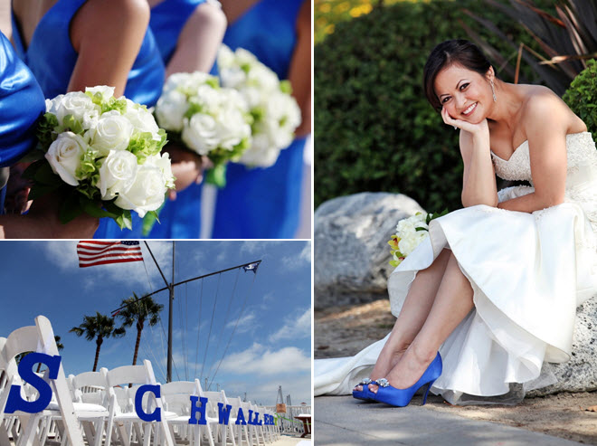 Bridesmaids wear royal blue dresses clutch ivory fresh for Blue shoes for wedding dress