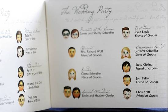 Custom Miis for each wedding party member brought a fun twist to this wedding