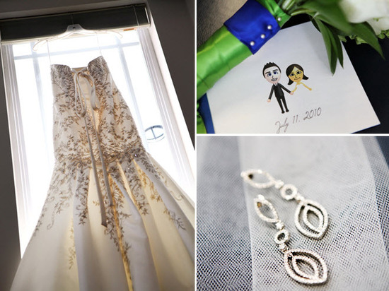 Bride's ivory beaded drop waist wedding dress hangs in window