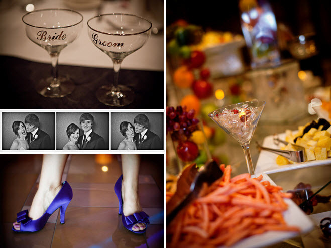 Personal wedding reception touches- Bride and Groom his and hers Toasting glasses, a photo booth for