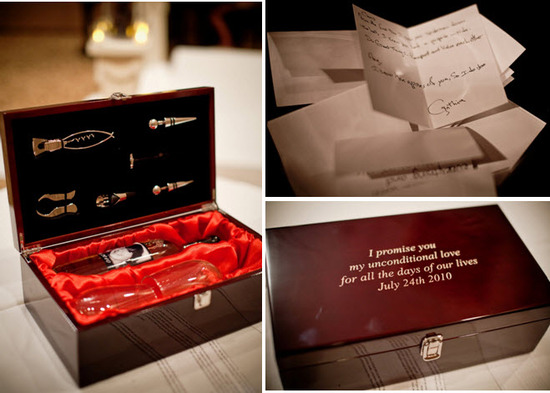 Notes with tips and advice from wedding guests; keepsake vows box engraved with couple's wedding dat