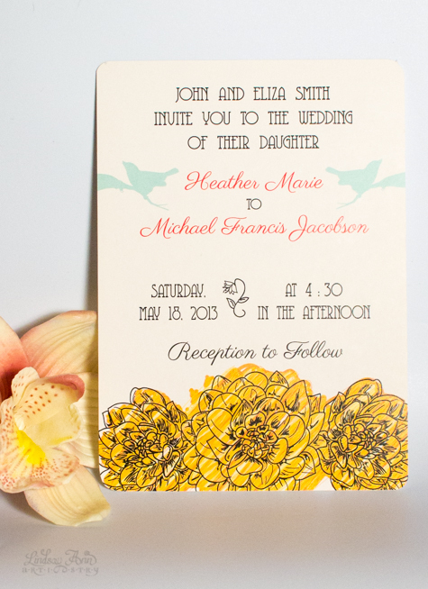 Birds & Flowers Wedding Invitation