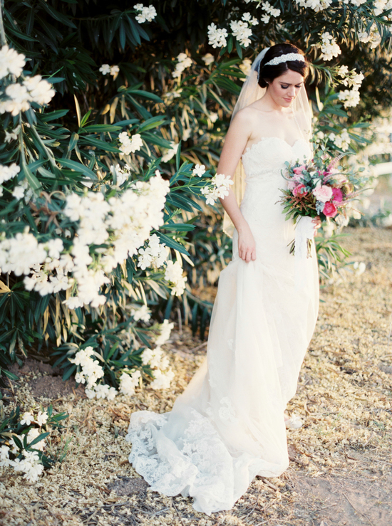 phoenix bride in lace gown with bohemian bouquet