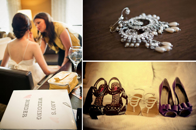 Brides-trusty-wedding-binder-gets-makeup-done-chandelier-bridal-earrings-peep-toe-purple-bridal-heels.full