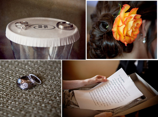 Bride's diamond engagement ring and groom's wedding band artistically photographed on hotel room gla