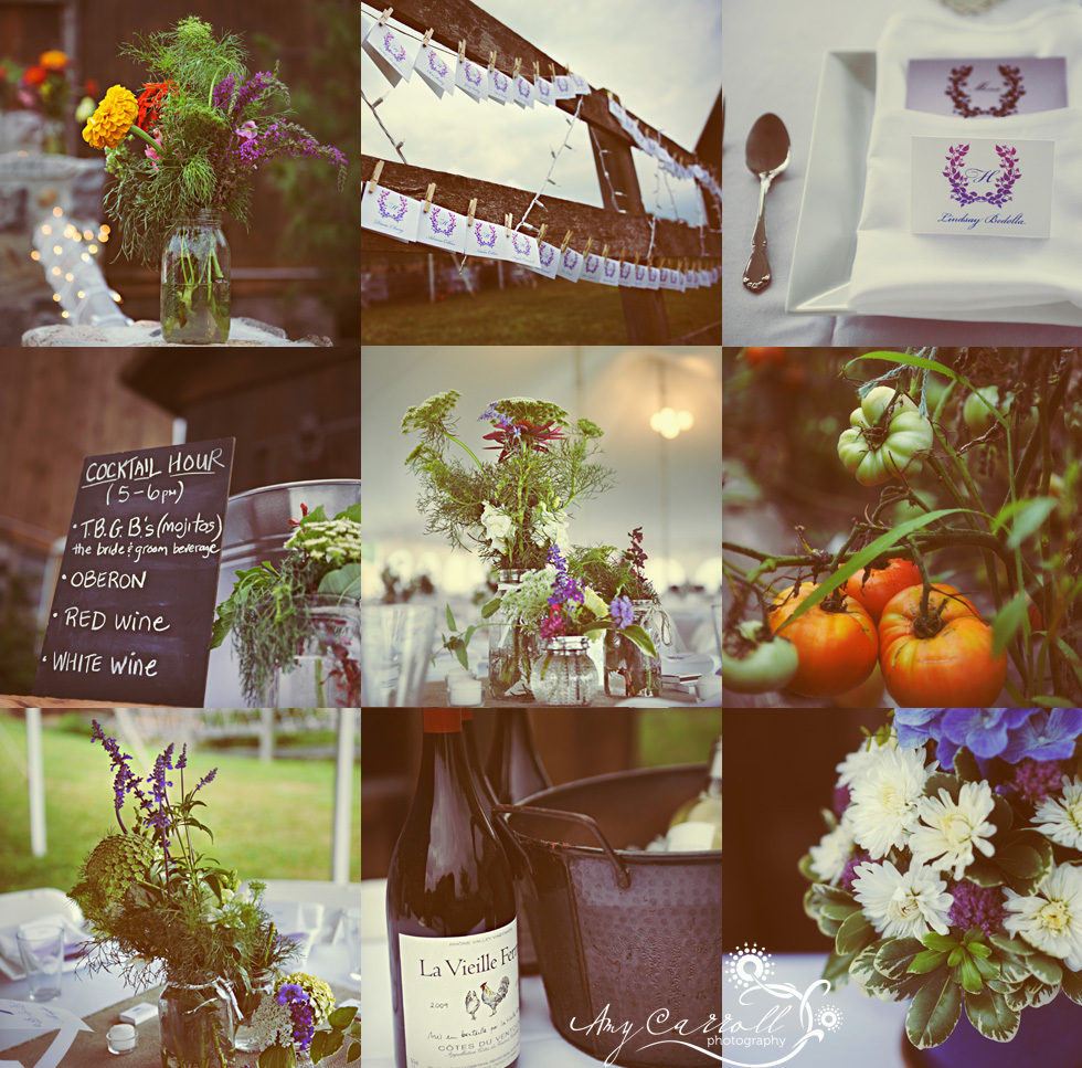 Rustic-wedding-details-michigan-outdoor-reception-purple-flowers-personalized-wine-orange-purple-ivory-wedding-flowers.full