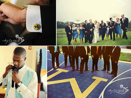 Groom and groomsmen don University of Michigan cufflinks; pose on campus field
