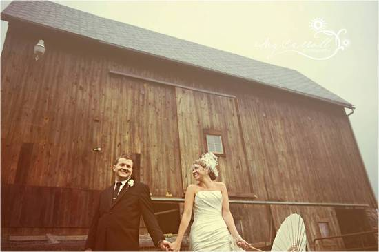 Bride, wearing birdcage veil, strapless wedding dress, holds hand with groom in front of rustic barn