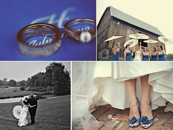 Grooms wedding band, bride's engagement ring, photographed on blue and white wedding programs