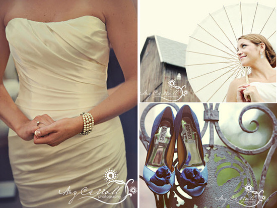 Bride in ivory strapless wedding dress, holds chic parasol, blue peep-toe bridal heels