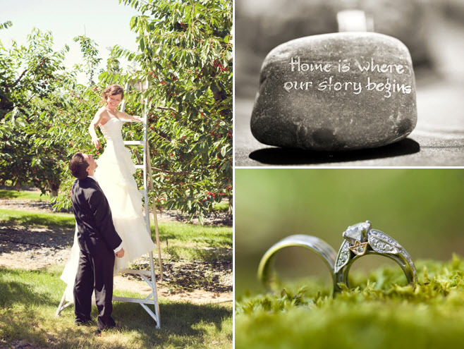 Montana-wedding-venue-rustic-ranch-bride-feeds-groom-from-cherry-orchard-engagement-ring-wedding-bands-artistic-wedding-photo.full