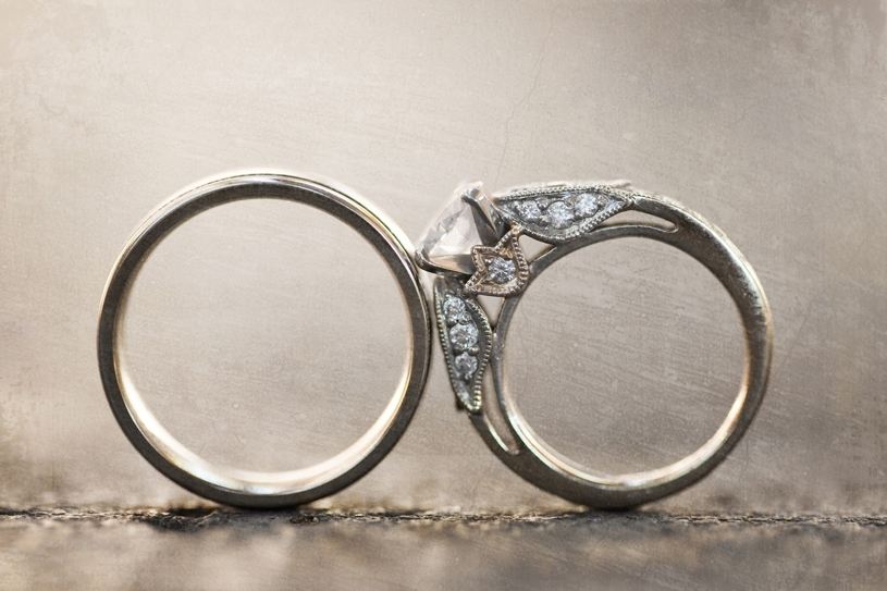 Platinum Wedding Band Touches Bride S Diamond Engagement Ring In This Artistic Photo