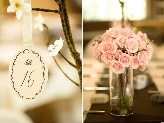 Romantic wedding reception decor- light pink roses for table centerpiece, ivory black table numbers