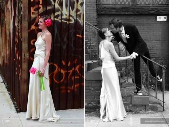 Eco-chic bride and groom- pose in urban Brooklyn setting, wearing wedding day garb