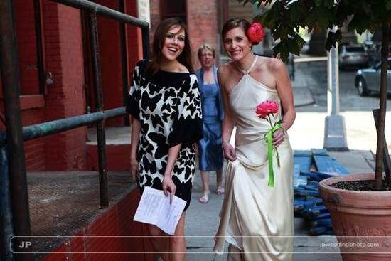 Bride chooses to walk to wedding ceremony (with Maid of Honor) in an effort to go green