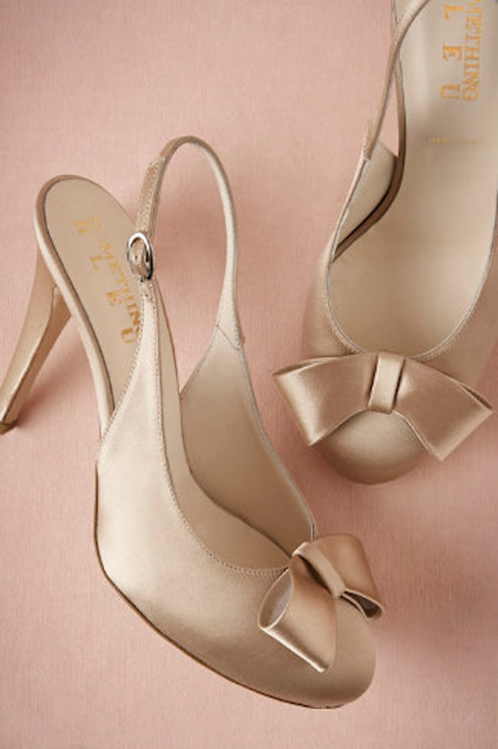 Gold Slingbacks with Bow Detail