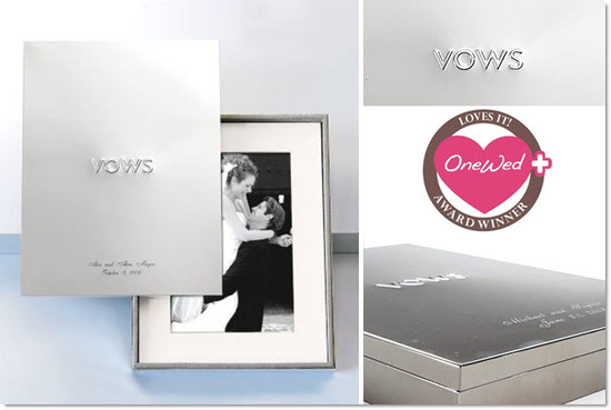 A beautiful silver Vows keepsake box to hold your most special wedding day mementos
