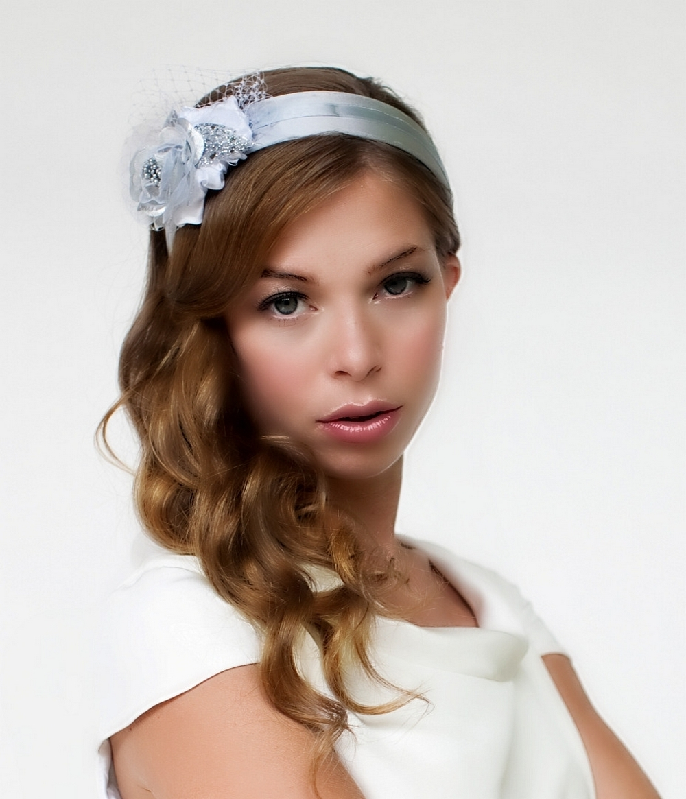 Satin Silver Bridal Headband With Sculptured Flower And White Veiling
