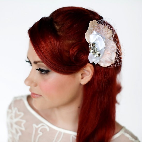 Stunning bridal hair accessory- sculptured fabric flower in peach velvet, white veiling, cluster of