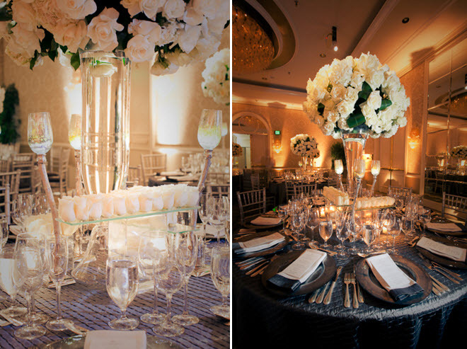 Stunning indoor wedding reception banquet room at the Four Seasons, with ivory roses and champagne t