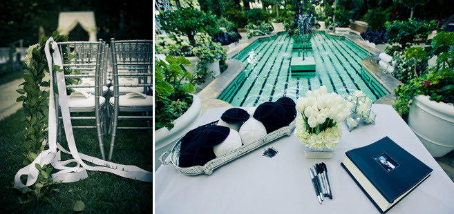 Outdoor-los-angeles-wedding-poolside-romantic-wedding-decor-guest-book-table-black-ivory-wedding-colors.full