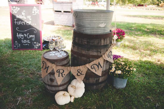 Burlap Signs and Wine Barrels