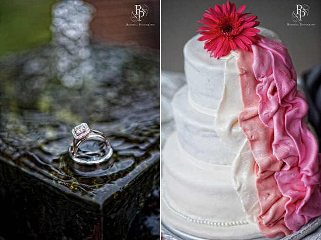 Engagement-ring-shot-artistic-wedding-photo-diamonds-platinum-band-white-wedding-cake-with-pink-gerbera-daisy.full