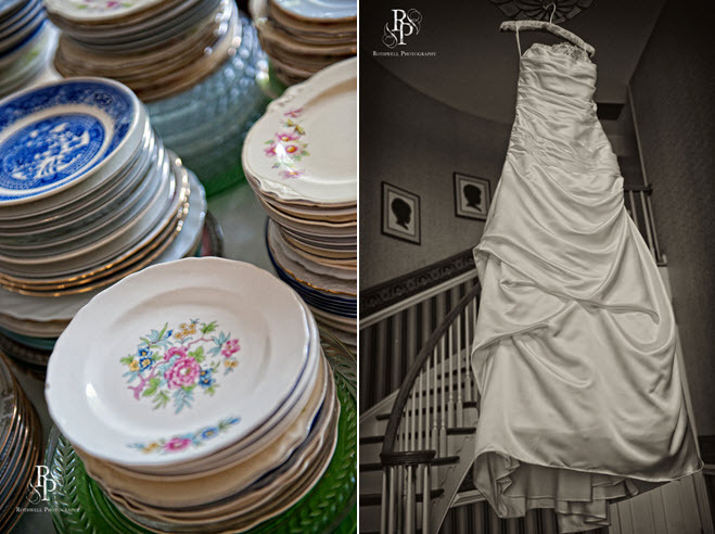 Diamond-white-wedding-dress-hangs-by-winding-staircase-mix-and-match-vintage-china-for-wedding-reception.full