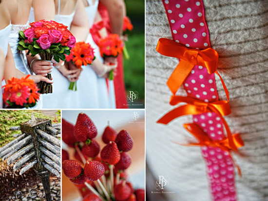 Bridesmaids wear white dresses, clutch hot pink and orange gerbera daisy flower bouquets