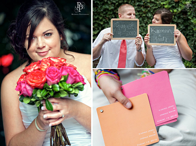 Bride-holds-hot-pink-bright-red-bridal-bouquet-roses-chalkboard-signs-to-personalize-wedding-reception-bright-wedding-color-palette.full