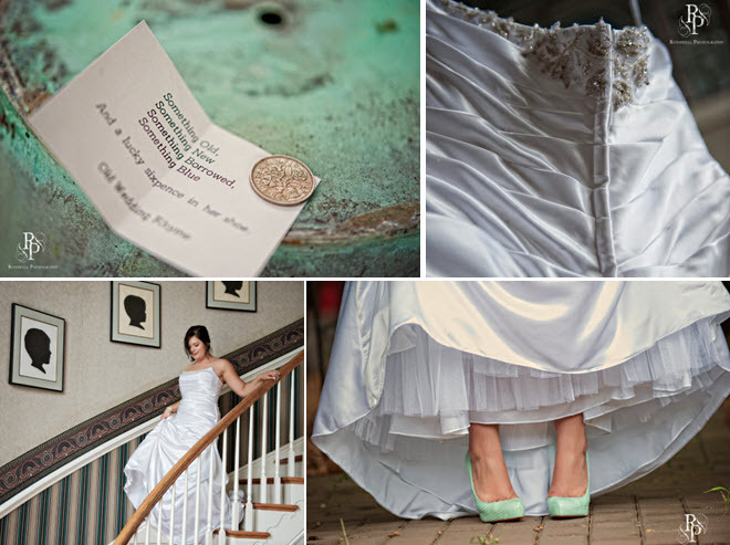 Diamond-white-satin-class-a-line-wedding-dress-strapless-something-old-keepsake-coin-aqua-bridal-heels.full