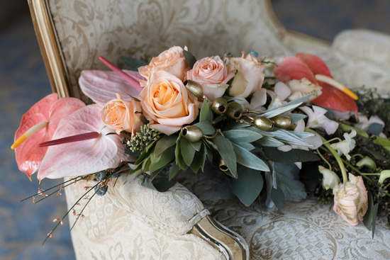 Unique Anthurium Eucalyptus Orchid and Rose Bouquet