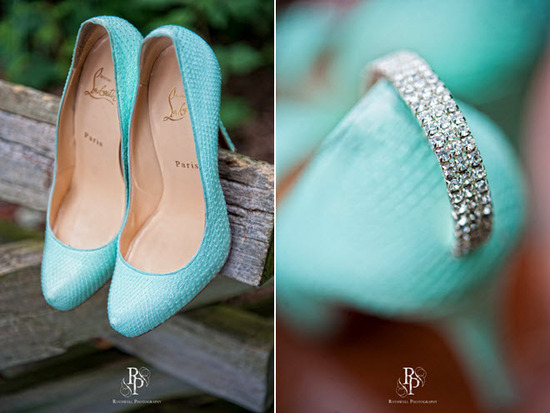 Aqua closed-toe platform Louboutin bridal heels with diamond embellishment on back of heel