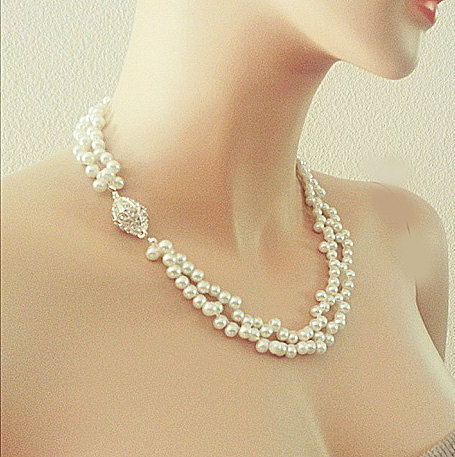Double Strands Pearl Bridal Necklace